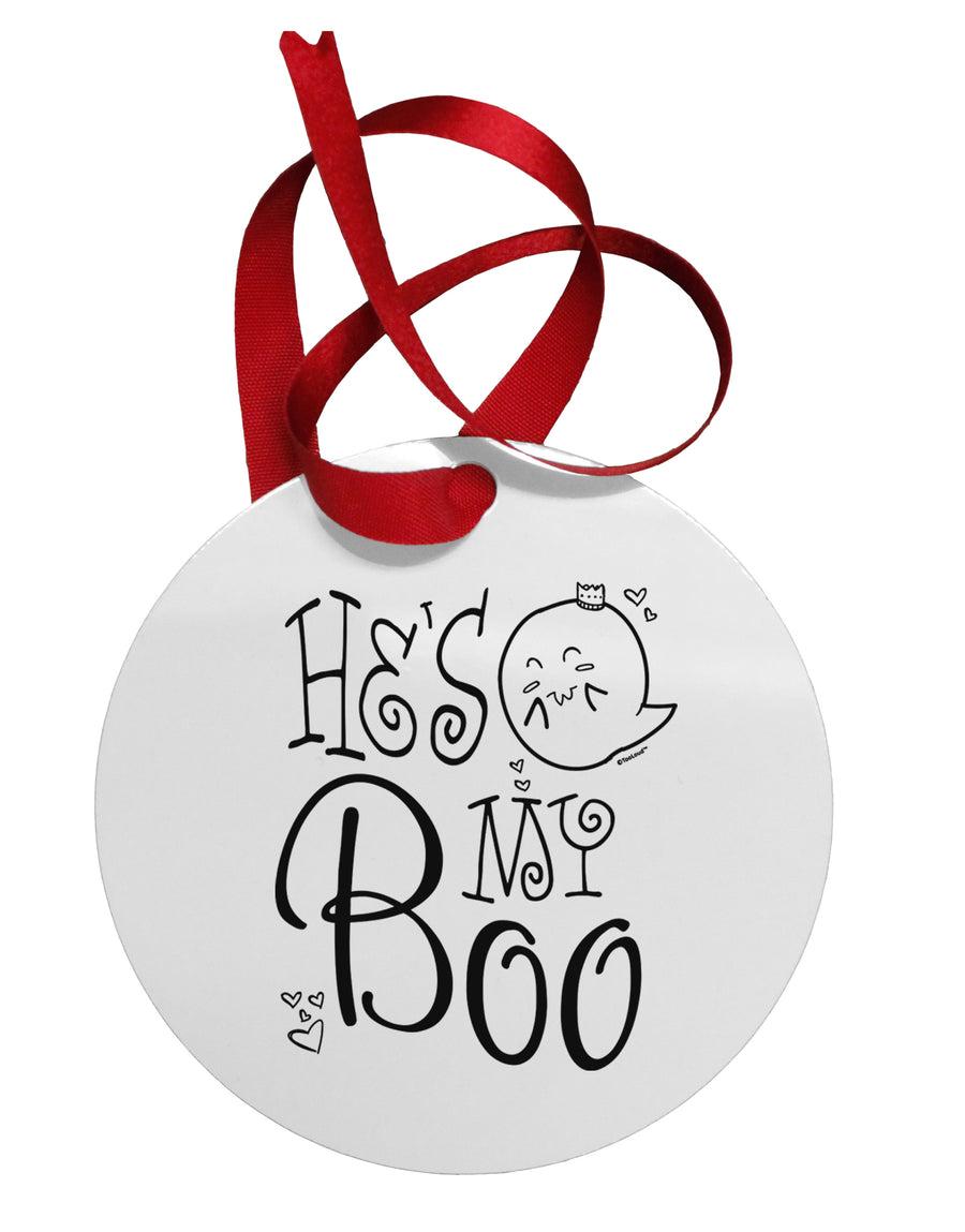He's My Boo Circular Metal Ornament