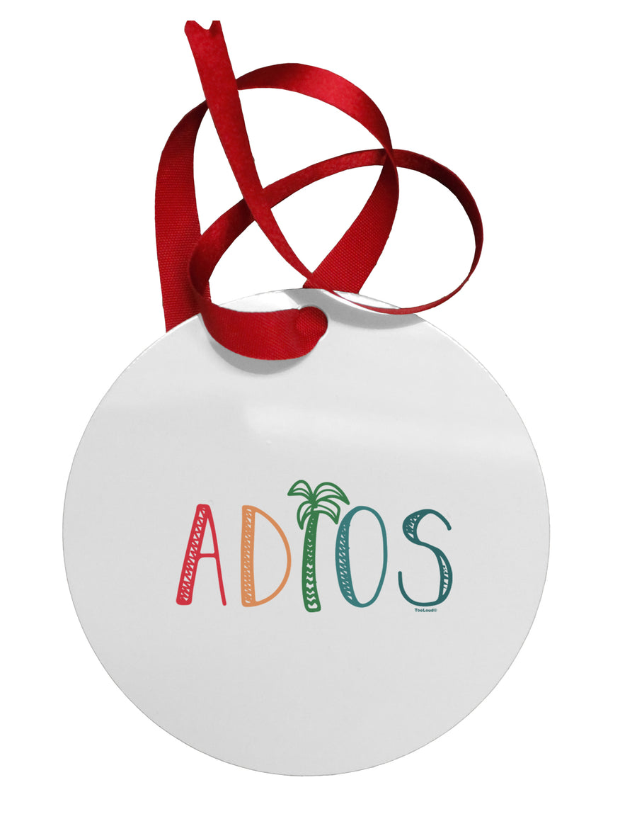 Adios Circular Metal Ornament