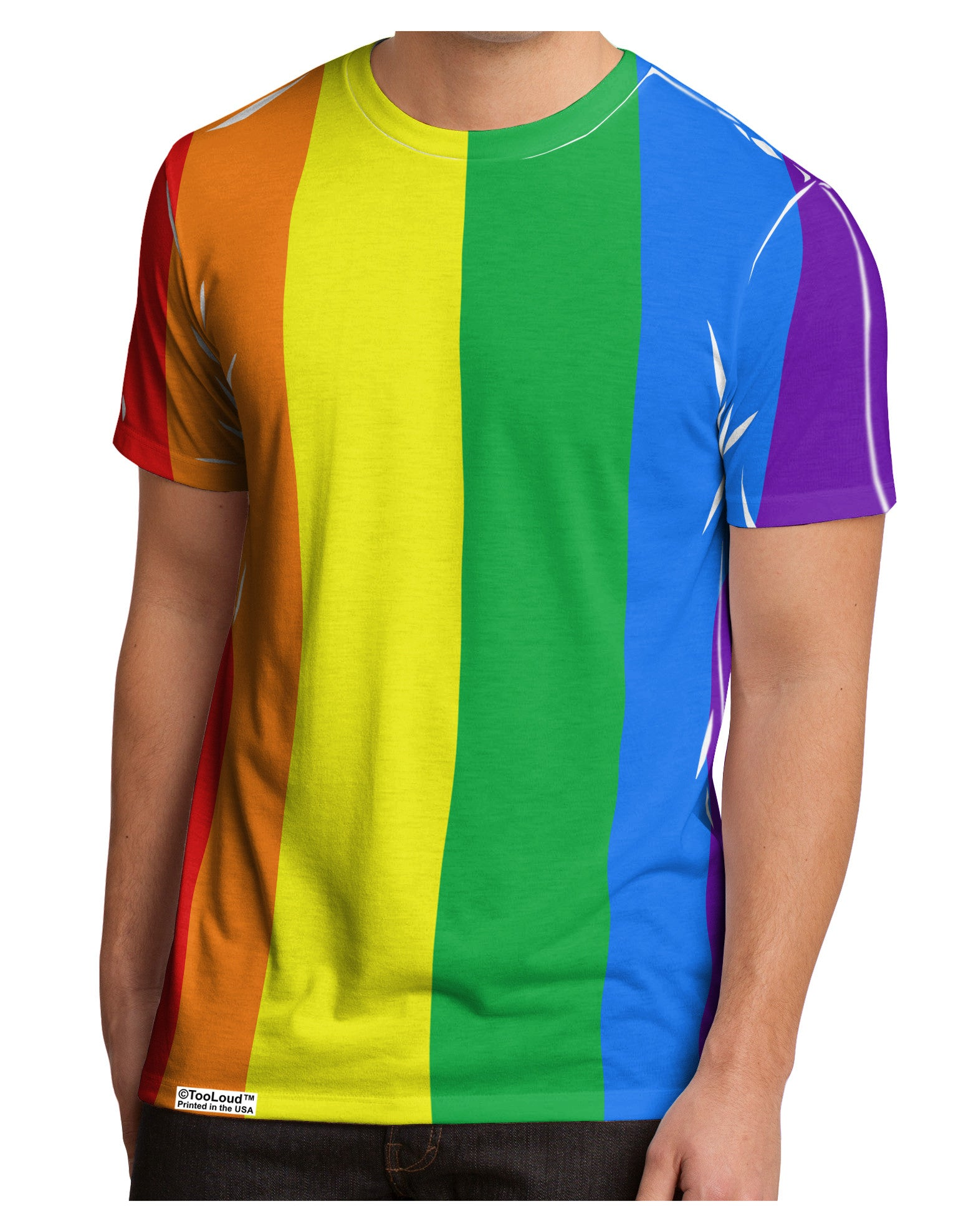 96ad45c739 Rainbow Vertical Gay Pride Flag Men's Sub Tee Dual Sided All Over Prin -  Davson Sales