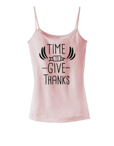 Time to Give Thanks Spaghetti Strap Tank Soft Pink 2XL Tooloud