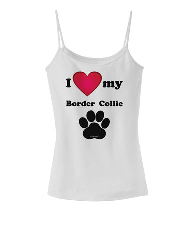 I Heart My Border Collie Spaghetti Strap Tank  by TooLoud