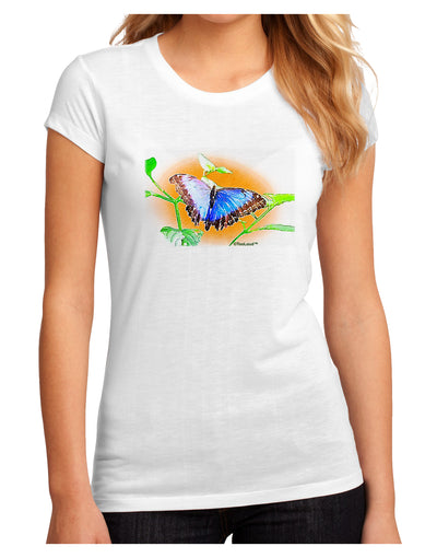 Blue Watercolor Butterfly Juniors Petite Sublimate Tee