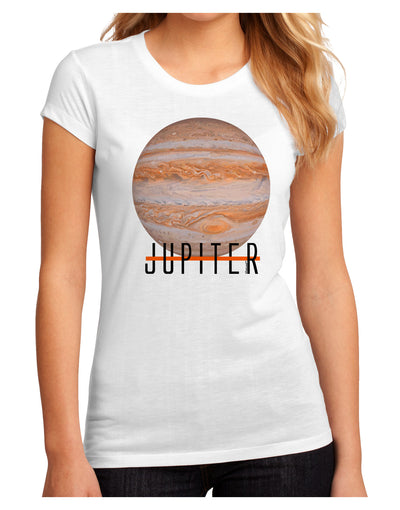 Planet Jupiter Earth Text Juniors Petite Sublimate Tee