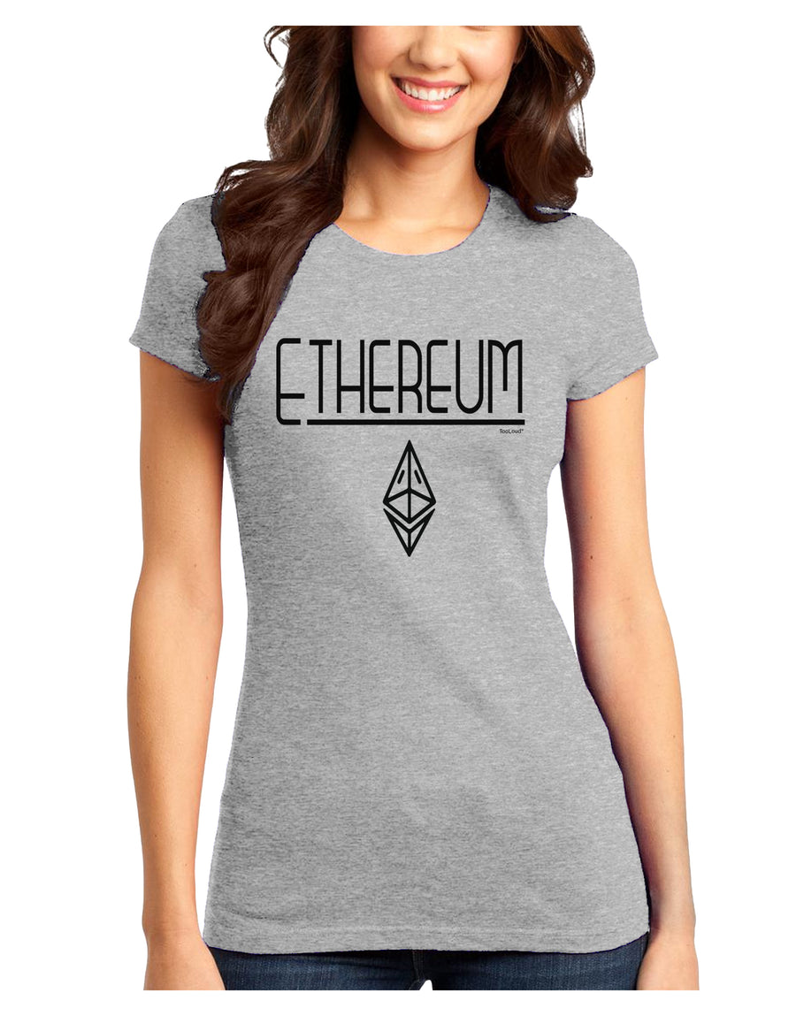 Ethereum with logo Juniors Petite T-Shirt White 4XL Tooloud