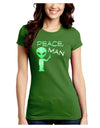 Peace Man Alien Juniors Petite Crew Dark T-Shirt