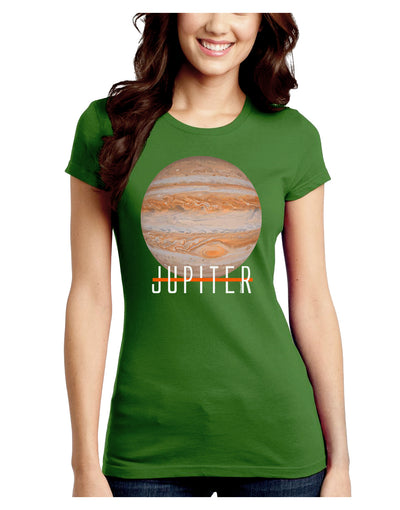 Planet Jupiter Earth Text Juniors Petite Crew Dark T-Shirt