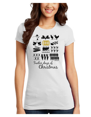 12 Days of Christmas Text Color Juniors T-Shirt