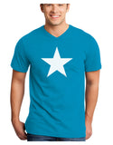 White Star Adult Dark V-Neck T-Shirt - Turquoise - 4XL Tooloud