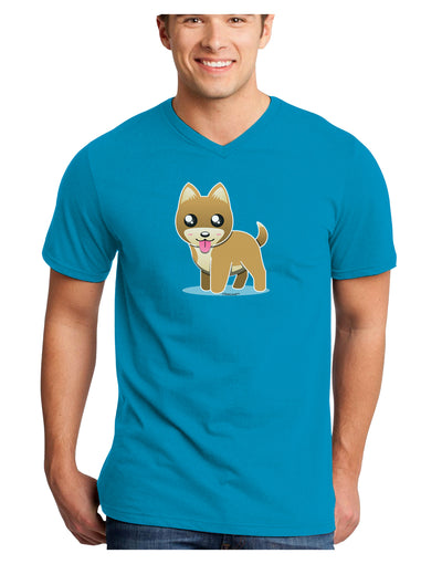 Kawaii Standing Puppy Adult Dark V-Neck T-Shirt