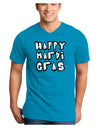Happy Mardi Gras Text 2 BnW Adult Dark V-Neck T-Shirt