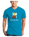 Queen Bee Text Adult Dark V-Neck T-Shirt