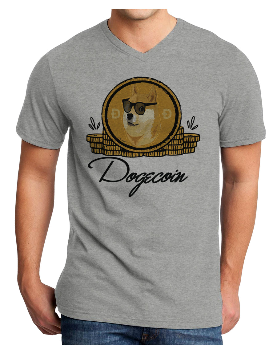 Doge Coins Adult V-Neck T-shirt White 4XL Tooloud