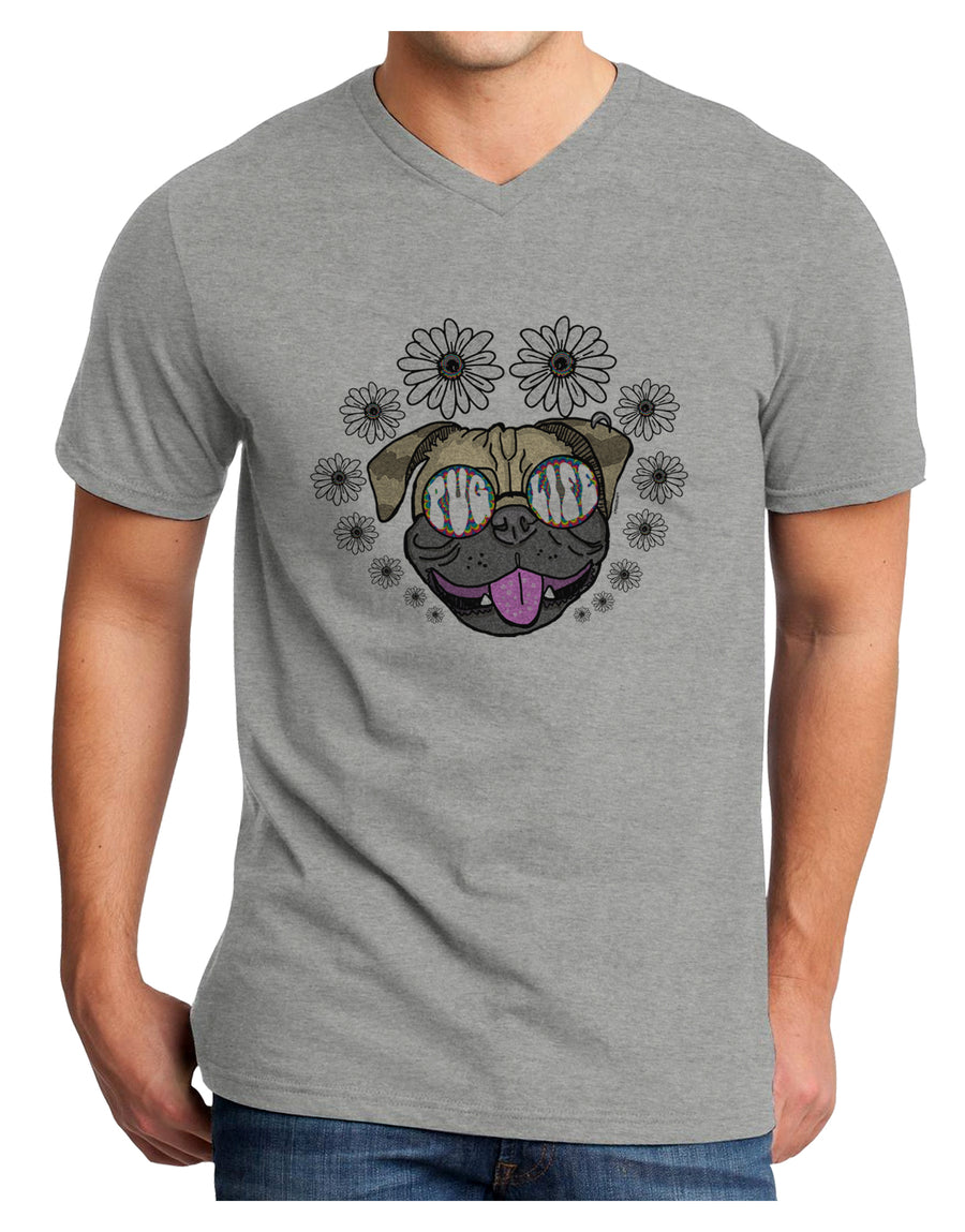 Pug Life Hippy Adult V-Neck T-shirt White 4XL Tooloud