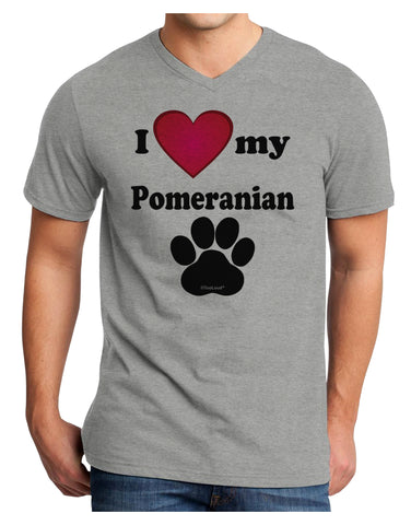 I Heart My Pomeranian Adult V-Neck T-shirt by TooLoud