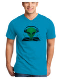 Alien DJ Adult V-Neck T-shirt