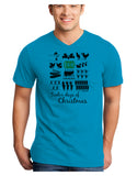 12 Days of Christmas Text Color Adult V-Neck T-shirt
