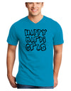 Happy Mardi Gras Text 2 BnW Adult V-Neck T-shirt