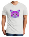 Geometric Kitty Purple Adult V-Neck T-shirt