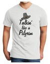 Talkin Like a Pilgrim Adult V-Neck T-shirt White 4XL Tooloud