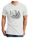 Save the Asian Elephants Adult V-Neck T-shirt - White - 4XL Tooloud