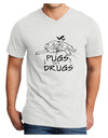 Pugs Not Drugs Adult V-Neck T-shirt White 4XL Tooloud