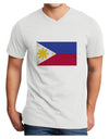 Distressed Philippines Flag Adult V-Neck T-shirt - White - 4XL Tooloud