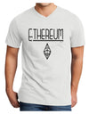Ethereum with logo Adult V-Neck T-shirt White 4XL Tooloud