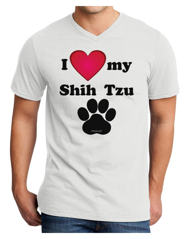 I Heart My Shih Tzu Adult V-Neck T-shirt by TooLoud