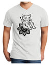 Mandala Baby Elephant Adult V-Neck T-shirt - White - 4XL Tooloud