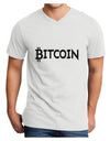 Bitcoin with logo Adult V-Neck T-shirt White 4XL Tooloud