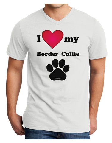 I Heart My Border Collie Adult V-Neck T-shirt by TooLoud
