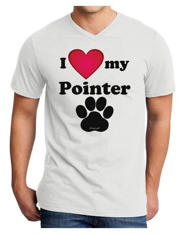 I Heart My Pointer Adult V-Neck T-shirt by TooLoud