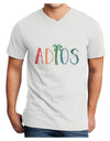 Adios Adult V-Neck T-shirt White 4XL Tooloud