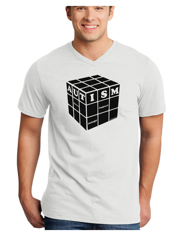 Autism Awareness - Cube B & W Adult V-Neck T-shirt