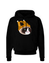 Disgruntled Cat Wearing Turkey Hat Dark Hoodie Sweatshirt by