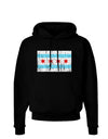 Distressed Chicago Flag Design Dark Hoodie Sweatshirt by TooLoud