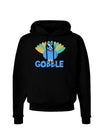 Cute Gobble Turkey Blue Dark Hoodie Sweatshirt