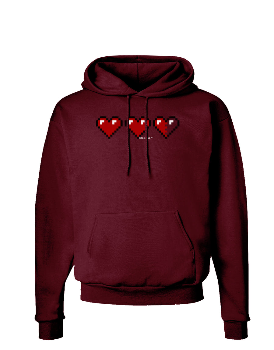 Couples Pixel Heart Life Bar - Left Dark Hoodie Sweatshirt by TooLoud