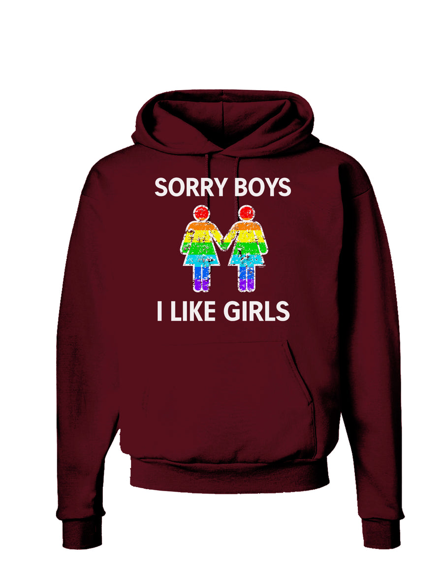 Sorry Boys I Like Girls Lesbian Rainbow Distressed Dark Hoodie Sweatshirt