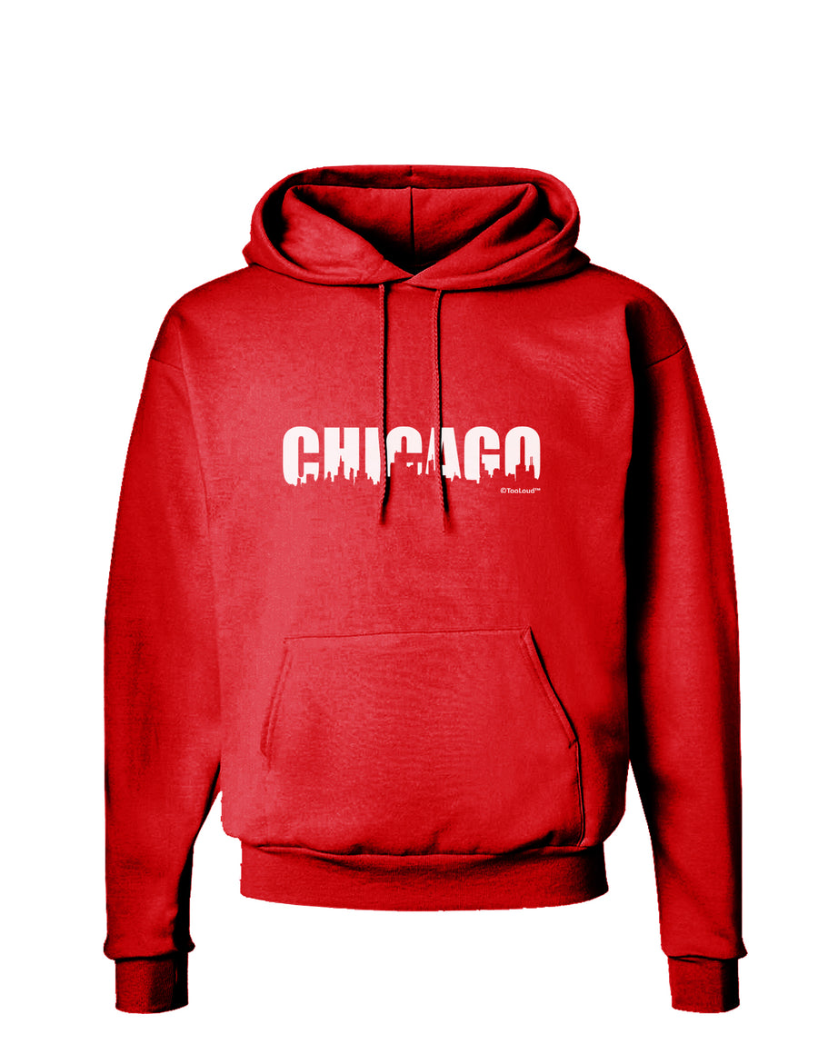 Chicago Skyline Cutout Dark Hoodie Sweatshirt by TooLoud