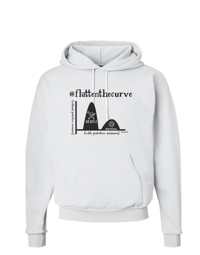 Flatten the Curve Graph Hoodie Sweatshirt White 3XL Tooloud