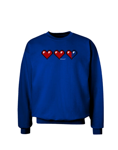 Couples Pixel Heart Life Bar - Left Adult Dark Sweatshirt by TooLoud