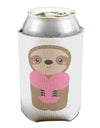 Cute Valentine Sloth Holding Heart Can / Bottle Insulator Coolers by TooLoud