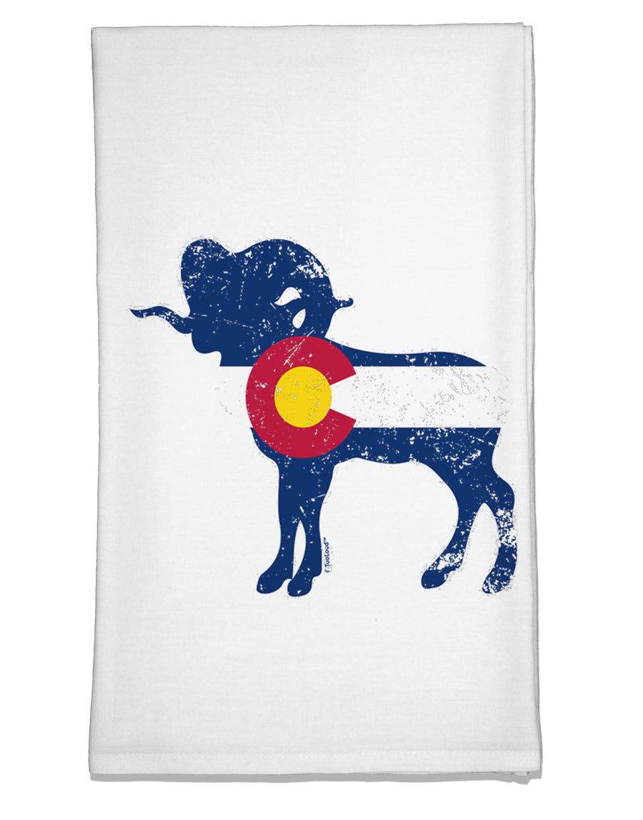 Grunge Rocky Mountain Bighorn Sheep Flag Flour Sack Dish Towel