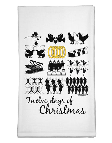 12 Days of Christmas Text Color Flour Sack Dish Towels