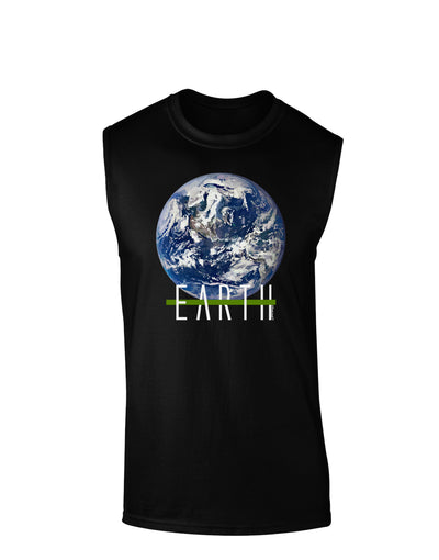 Planet Earth Text Dark Muscle Shirt