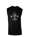 Distressed Fleur de Lis Dark Muscle Shirt