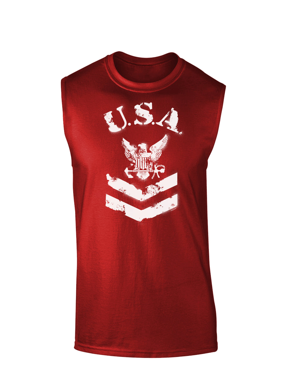 USA Military Navy Stencil Logo Dark Muscle Shirt
