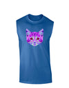 Geometric Kitty Purple Dark Muscle Shirt