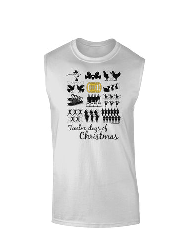 12 Days of Christmas Text Color Muscle Shirt